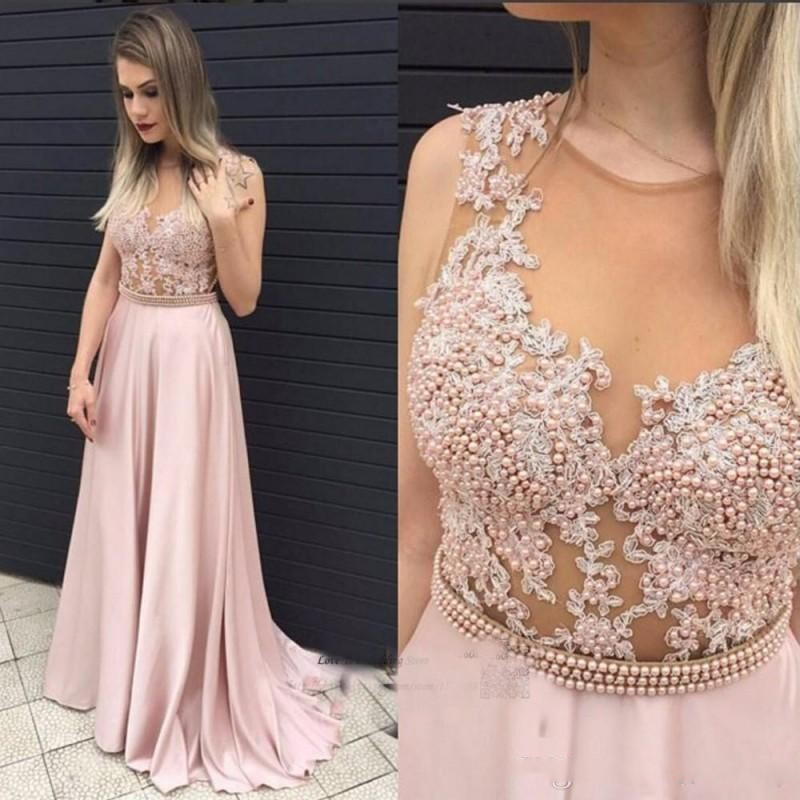 Dusty Pink Formal Party   Dress   abiye abendkleider robe de soiree   Evening     Dress   Appliques Long Formal   Dresses   Beaded Chiffon