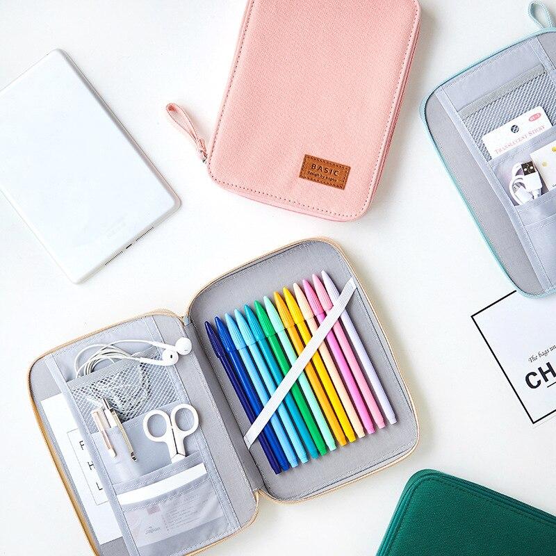 grande capacidade caso lapis lona ziper bonito criativo caneta caixa de armazenamento portatil saco para pencilcase