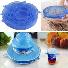 6PCS/Set Silicone Super Stretch Lid For Bowl Cover / Cup Fresh Fruit Food Container Covers Pan Kitchen Vacuum