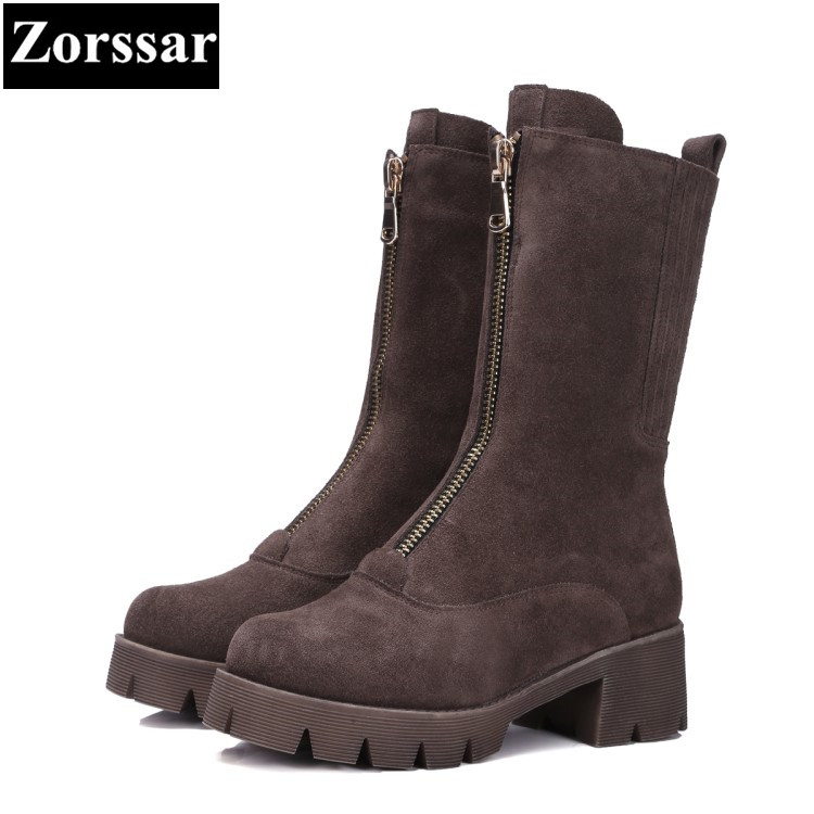 {Zorssar} 2017 NEW winter Female shoes Fashion High heels Square Toe platform Mid-Calf boots short plush womens snow boots riding boots chunky heels platform faux pu leather round toe mid calf boots fashion cross straps 2017 new hot woman shoes