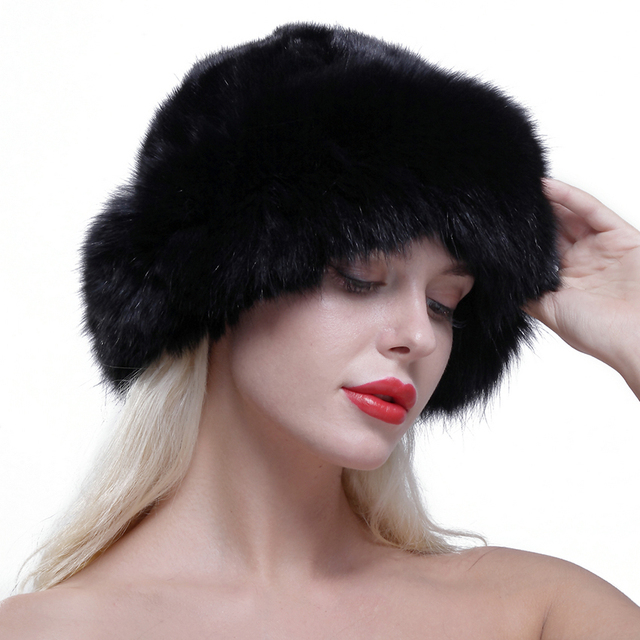 URSFUR Women's Real Fox Fur Roller Hat with Mink Top Multicolor Solid Adult Popular cap Thick Warm Fur with adjustable rope