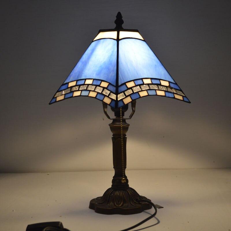 Настольная лампа Тиффани Средиземное море Стиль пятнистости Стекло лампы для Спальня E27 110-240 В