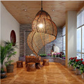 LED Study, Rattan Lighting, Tianluo Rattan Chandelier Creative Personality, Southeast Asia Retro Cafe Restaurant, Balcony Lamp