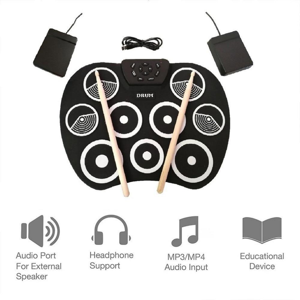 Roll Up Drum Kit 9 almohadillas Batería Electrónica USB alimentado con pedales baquetas Cable USB para los estudiantes