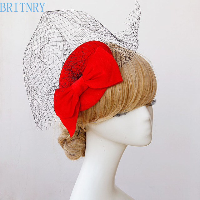 Britnry Hot Red Wedding Hat Vintage Birdcage Veil With Black Tulle Women Evening Party