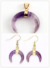 Kraft-beads Light Yellow Gold Color Crescent Moon Pendant Natural Amethysts Stone Earrings Ethnic Jewelry Set