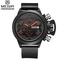 MEGIR 24 Hours Function Chronograph Mens Watches Top Brand Luxury Male Sport Silicone Quartz Wrist Watch