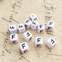 Black F Pring 10 10MM Cube White Alphabet Jewelry Letter Beads 550PCS Factory Price Acrylic Plastic