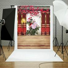 Ano Novo chinês Tema Família Retrato Fundos Flores Fotografia Adereços Pano Tecido Pano de Fundo para Photo Studio