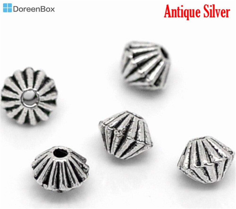 Perlen b02878 Doreen Box Hot-200 Stücke Antique Silver Kleine Doppelkegel Distanzscheiben-korn-entdeckungen 4x4mm