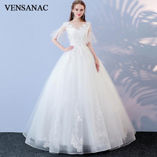 VENSANAC Lace Appliques V Neck Ball Gown Flare Half Sleeve Wedding Dresses 2018 Sequined Tulle Backless Bridal Gowns