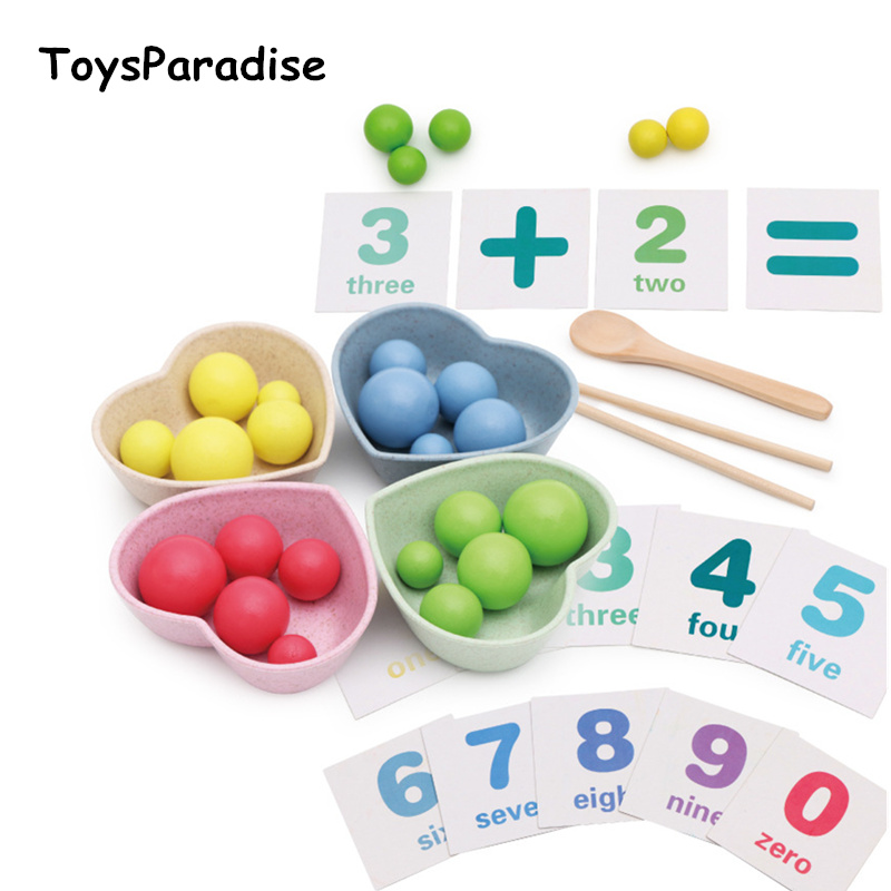 Mathematics Enlightenment Baby Practise Chopsticks Wooden Toys For Kids Clip Ball Child Math Toys Educational Gifts