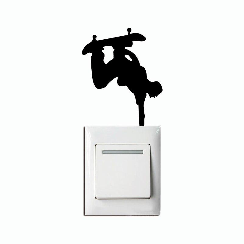 KG-276 скейтбордист ручной Стенд перевернутый на выключатель света наклейка мультфильм Спорт Silhouettle домашние обои