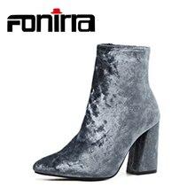 Фотография FONIRRA Women Autumn Winter Ankle Boots  High Top Corduroy Velvet Ankle Boots Super High Heel Shoes Bootie Pump Block Heels 648