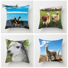 Fuwatacchi Cute Black White Alpaca Expression Cushion Cover Animals Pillow for Home Chair Decoration Pillowcases