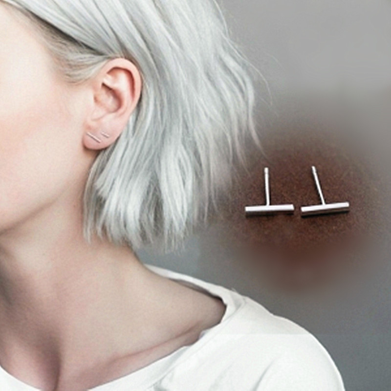 Hot Punk Stick Studs Earrings Wholesale Simple Geometry T Bar Stud Earrings For Women Jewelry Brincos Bijoux 0.8cm1.4cm2.1cm