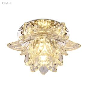 Image 1 - Colorful Led Lotus Crystal Ceiling Chandelier Light Spot Light for Corridors Balconies Hallways Creative Plafonnier Luminaire
