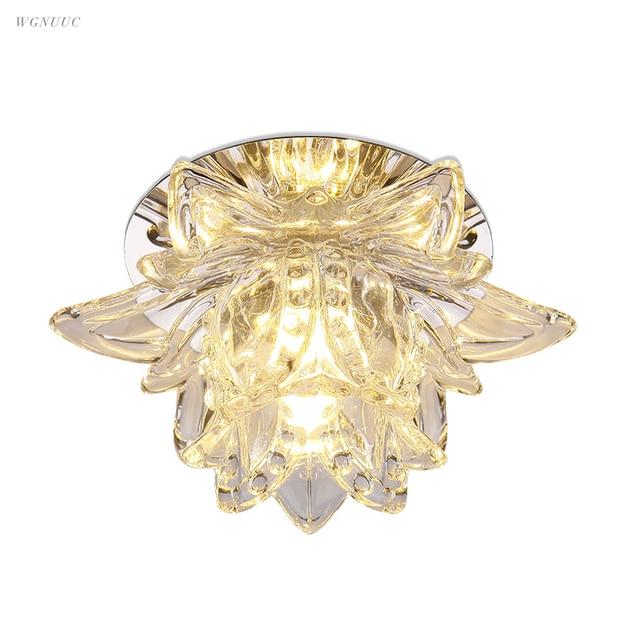Colorful Led Lotus Crystal Ceiling Chandelier Light Spot Light for Corridors Balconies Hallways Creative Plafonnier Luminaire