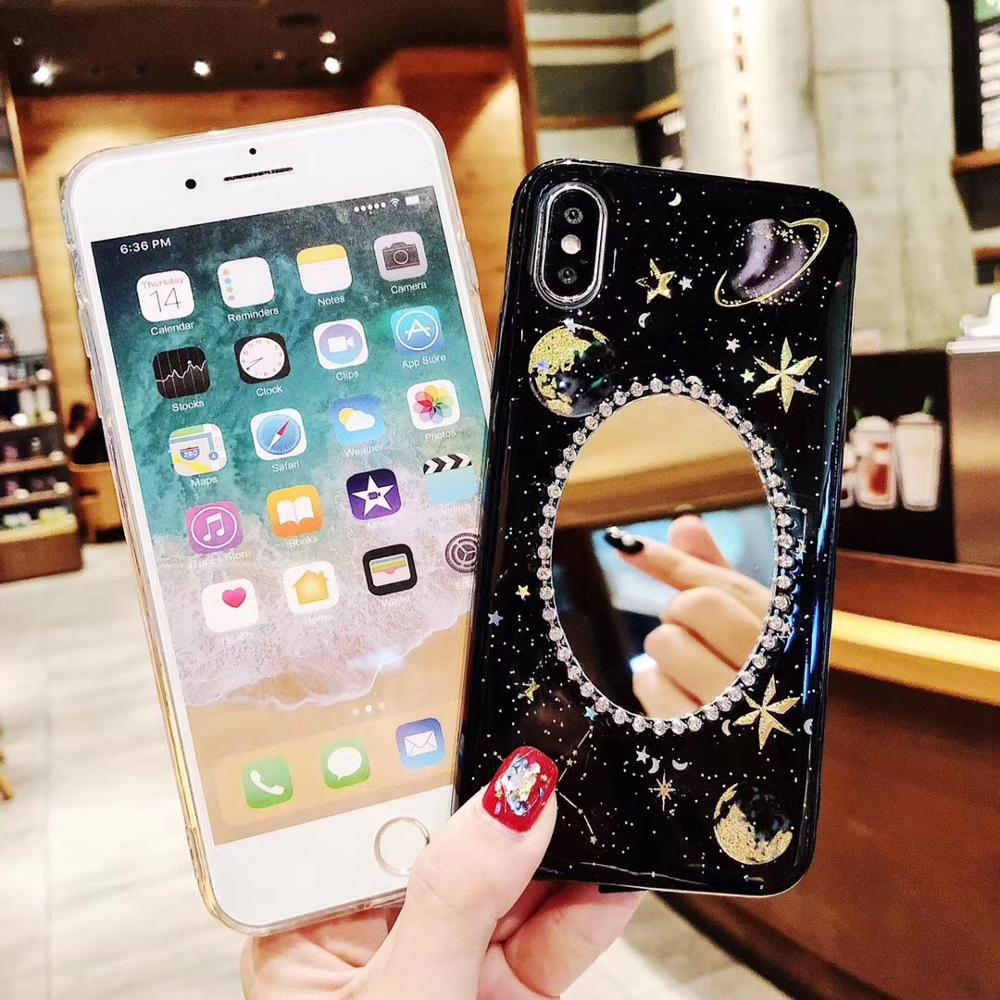 Case for iPhone 6 6S 7 8 Plus Case Silicon Bling Luxury Mirror Glitter Soft Cover Fundas for iPhone 6 6S 7 8 Plus X XR XS Max in Fitted Cases from Cellphones Telecommunications