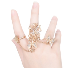Crystal Flower Chain Link Armour Knuckle Ringa Gold Color Punk Full Finger Rings for Women Anillo aneis Bijoux Femme