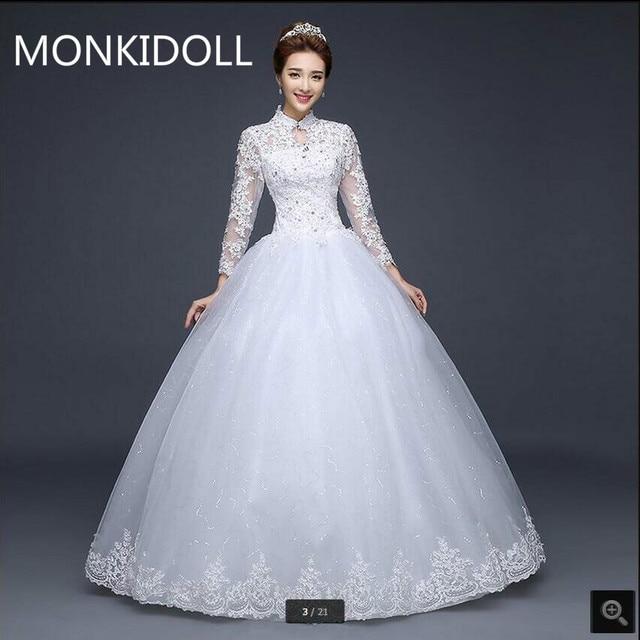 6ed528793793 Vestido De festa abiti da sposa d epoca manica lunga con collo alto ball  gown