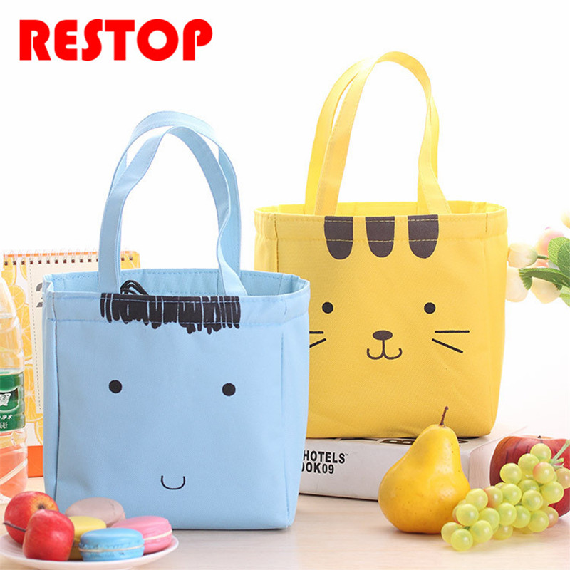 Cartoon expression Oxford Lunch Bag Thermal Food Picnic Lunch Bags for Women kids Men Cooler Lunch Box Bag Tote RES924
