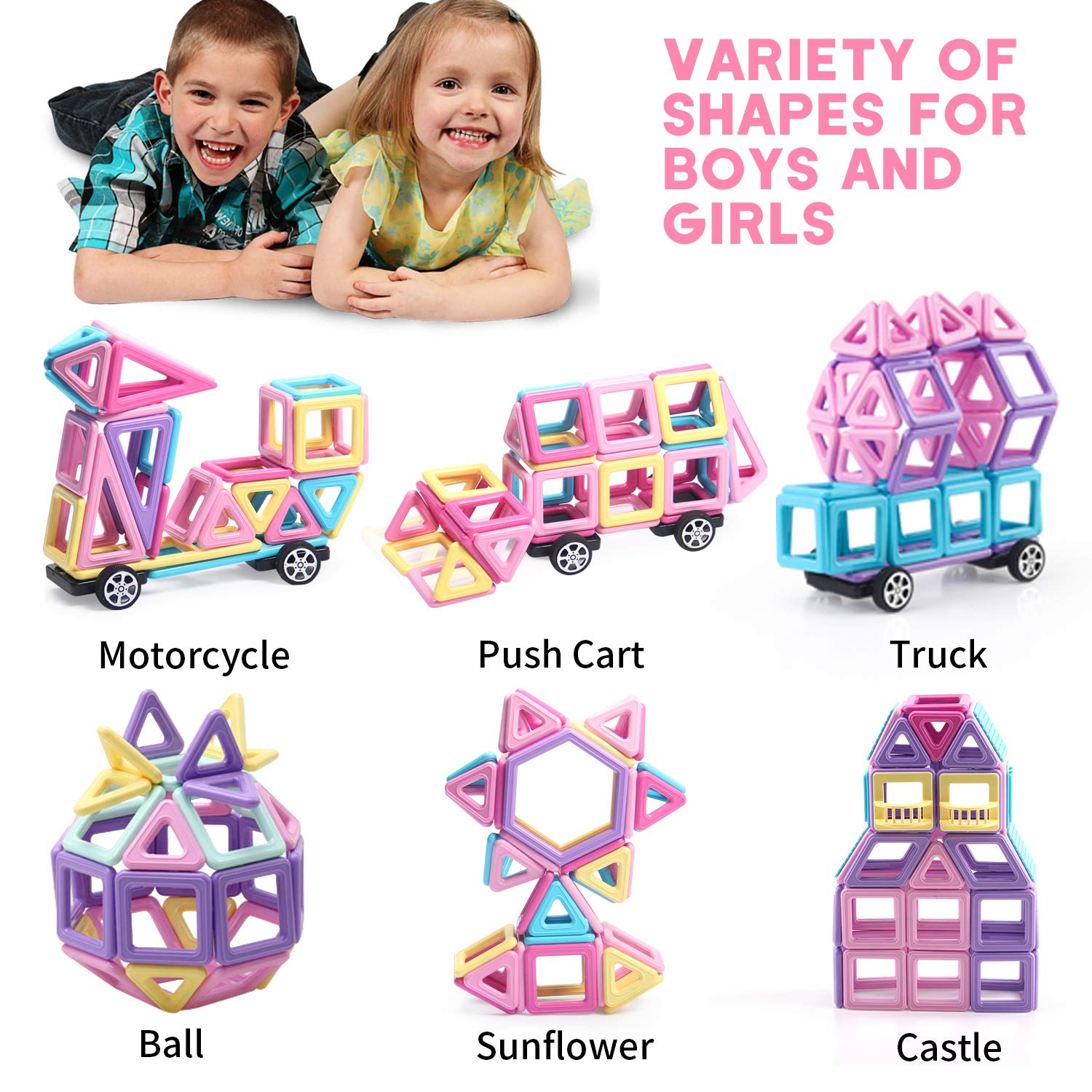 Learning /& Development Magnetic Tiles Building Blocks Kids Toys for 3 4 5 6 7 Years Old Boys Girls Gifts ACTRINIC 40PCS Castle Magnetic Blocks