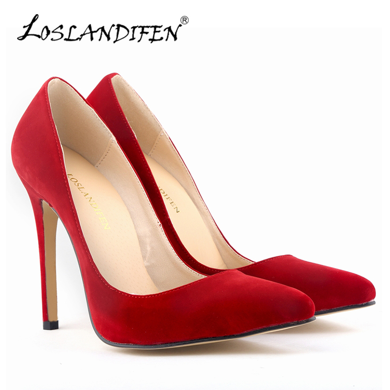 LOSLANDIFEN Women Pumps Shallow Fashion Pointed Toe Flock High Heels Pumps Woman Shoes Sexy Red Wedding Shoes For Women 302-1 newest flock blade heels shoes 2018 pointed toe slip on women platform pumps sexy metal heels wedding party dress shoes