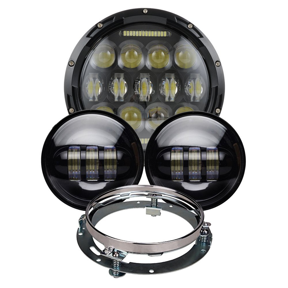 7inch Round LED Headlight 75W Hi/Lo Beam with Mounting Bracket + 2 PCS 4.5inch Fog Lights 30W for Harley Davidson Motorcycle