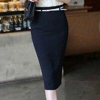 Ultimo Disegno Nero Slim Hip Solid Ginocchio-Lunghezza Gonne Lunghe A Vita Alta Moda Gonna Longuette donna Nuovo Stile commercio all'ingrosso