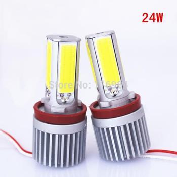 FOR BWM 24W H8 COB E60 E92 E93 X5 LED Angel Eye Halo Light Foglight M3 E70 White