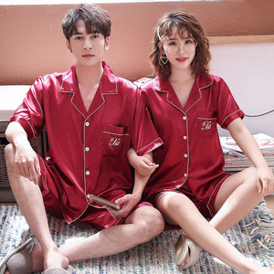 Image 4 - BZEL 2019 Summer New Fashion Matching Couple Pajama Sets Imitated Silk Fabric Pyjama Suit Nightwear Lovers Lingerie Tops+Shorts