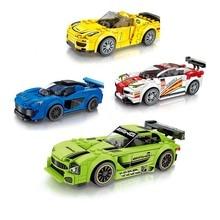 Новейшая техника город суперкар гоночный автомобиль гонщики цифры скорость чемпионов для мальчика Дети Новый год подарки Совместимость Legoings автомобиль