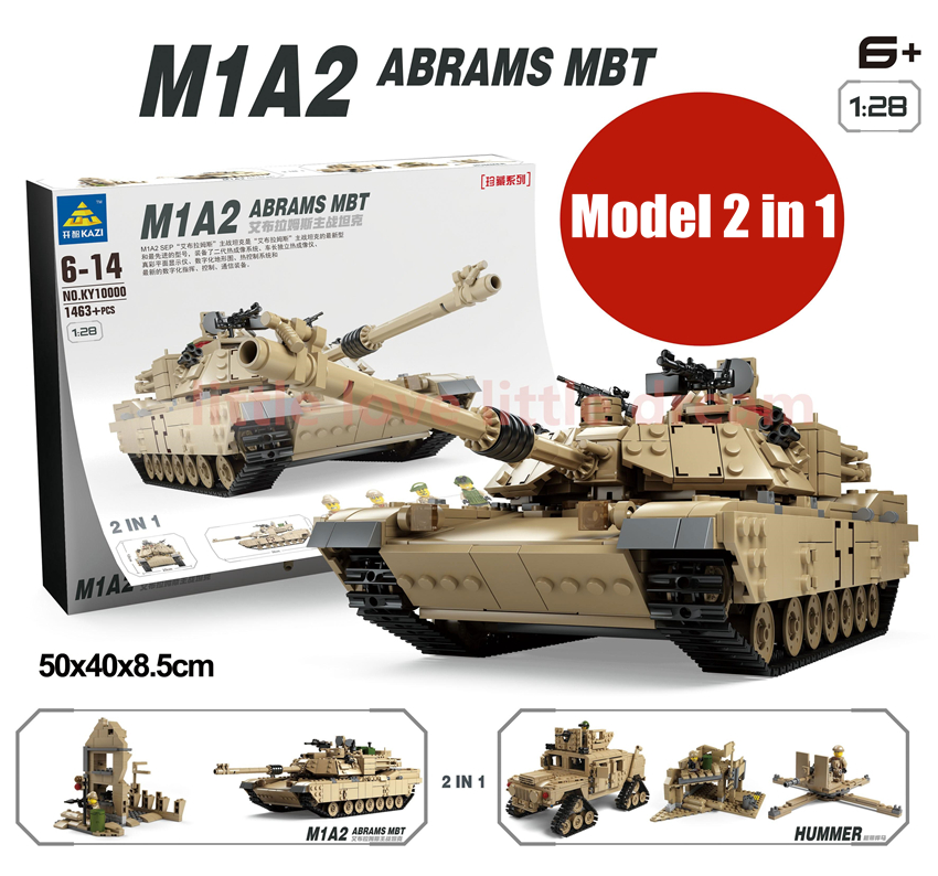 цена на KAZI M1A2 ABRAMS MBT fit legoings Military technic Tank figures Deformation hummer Building Blocks bricks Toys gift kid