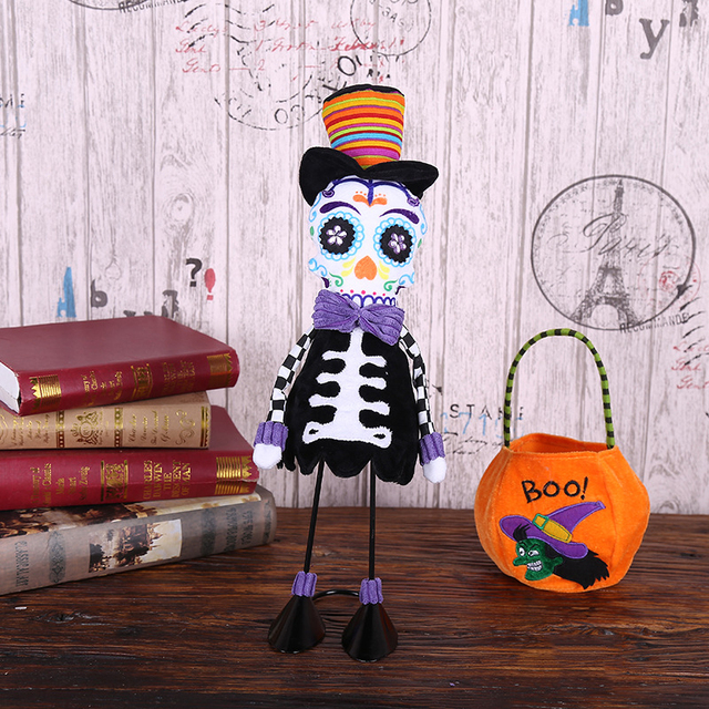Halloween Standing Skull Soft Cloth Dolls Toy Creative Ornamentst Stuffed Filling Cotton Cloth Dolls Halloween Home Party Props 1
