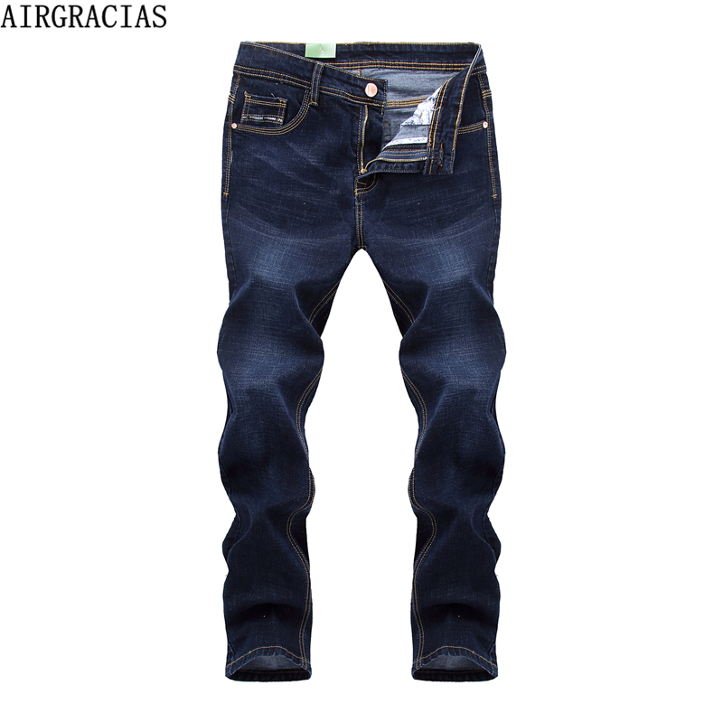 AIRGRACIAS Elasticity Jeans Men High Quality Brand Denim Cotton Biker Jean Regular Fit Pants Trousers Size 28-42 Black/Blue xmy3dwx n ew blue jeans men straight denim jeans trousers plus size 28 38 high quality cotton brand male leisure jean pants