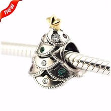 925 Sterling-Silver-Jewelry Festive Tree Silver Charm with 14K Gold DIY Fits Bracelets Silver Beads for Jewelry Making