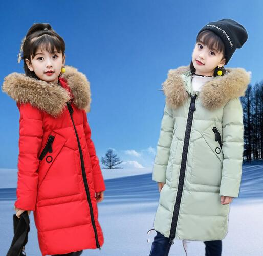 -30 Degree Girls Duck Down Jacket 2018 New Winter Children Thickened Fur Collar Hooded Warm Long Coat Kids Outerwear Parkas 2017 new kids long parkas for girls fur hooded coat winter warm down jacket children outerwear infants thick overcoat 3t 14t