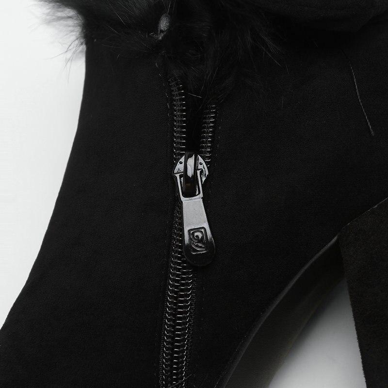 Invierno Khaki 7 negro Dulces En Cm Partido Cremallera Tamaño Zapatos 43 Tobillo Caliente Tacón Mujeres 2019 gris Nieve Mantener Para 34 Erógena Gran RFxY6Y1