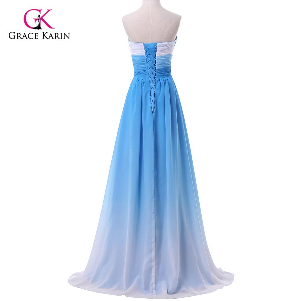 Ombre Evening Dress Grace Karin 2018 New Arrival Chiffon Long Blue ...