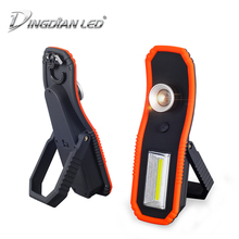 купить 2-in-1 LED Torch Portable emergency Working Lamp magnet Floodlight Tent lamp Outdoor Camping Light Zoomable Flashlight with Hook дешево