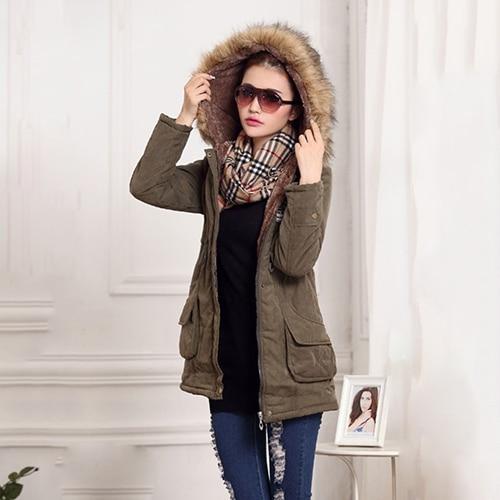 Women Winter Warm Hooded Coat Long Sleeve Faux Fur Hooded Slim Jacket Coat Parka Outwear sony fdr ax 33 b