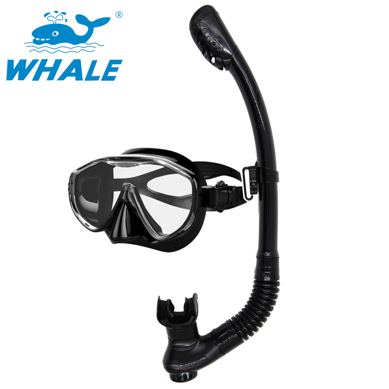 все цены на Whale Large Frame Mask Silicone Goggles for diving Anti-fog Waterproof Glasses with snorkel scuba gear Goggles equipment set