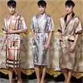 14 Colors New Summer Men's Faux Silk Kimono Kaftan Lounge Bathrobe Gown Summer Casual Sleepwear Chinese Robe One Size 011303