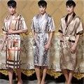 14 Cores dos homens Novos de Verão Faux Seda Kaftan Quimono Salão Roupão de Banho Vestido de Verão Sleepwear Casuais Chinês Robe Um Tamanho 011303