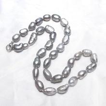 YYW модные ювелирные изделия натуральный пресноводный жемчуг ожерелье кристалл нить серый 8-9 мм жемчужное длинное ожерелье для женщин свадебный подарок