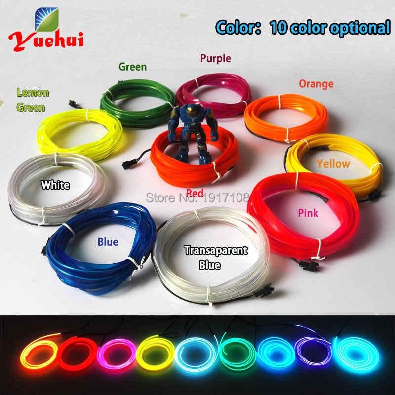 ללא בקר 2.3mm-חצאית LED ניאון זוהר אור 10 צבע אפשרות גמיש EL Wire עבור בגדי רכב מסיבת קישוט