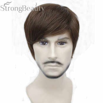 StrongBeauty Synthetic Straight Hair Boy Short Side Part Black/Brown Cosplay Men/Women Wigs - Category 🛒 All Category