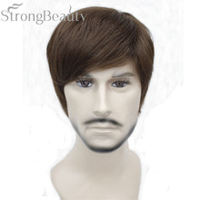 StrongBeauty syntetyczne proste włosy chłopiec krótkim boku część czarny/brązowy Cosplay mężczyźni/kobiety peruki