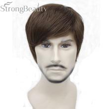 StrongBeauty الاصطناعية مستقيم الشعر الصبي قصيرة الجانب جزء أسود/براون تأثيري الرجال/النساء الباروكات